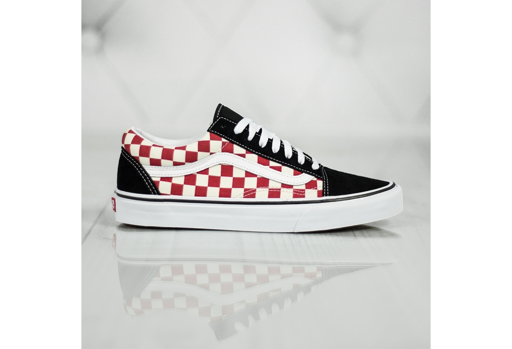 vans checkerboard biale